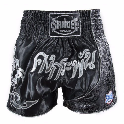 Sandee Unbreakable Muay Thai Shorts - Black/Silver